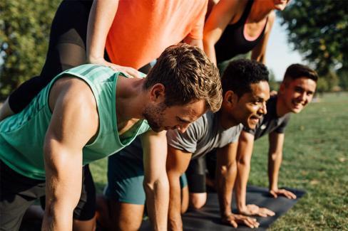 athlete human pyramid