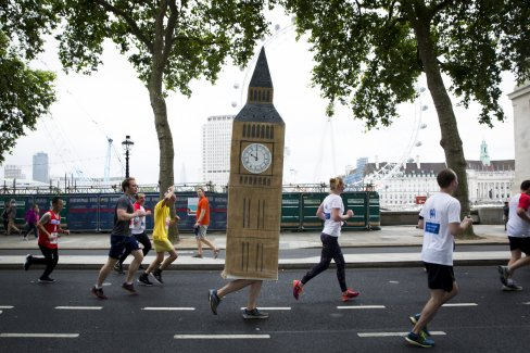 A person dressed up as Big Ben, running the Virgin Sport British 10k 2017 event.