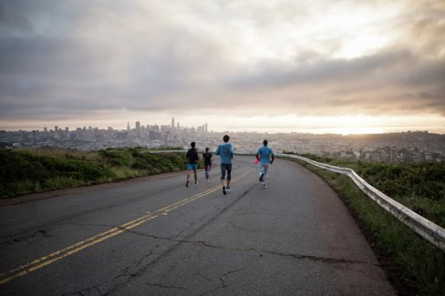 Running up the Twin Peaks Mile hill in San Francisco with Virgin Sport.