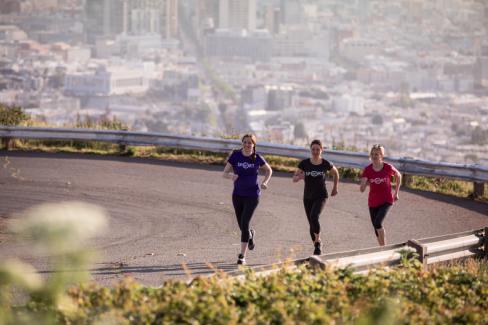 The Virgin Sport team running up Twin Peaks in San Francisco.