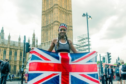 Be Manzini, pacer at the Virgin Sport British 10k, in front of Big Ben