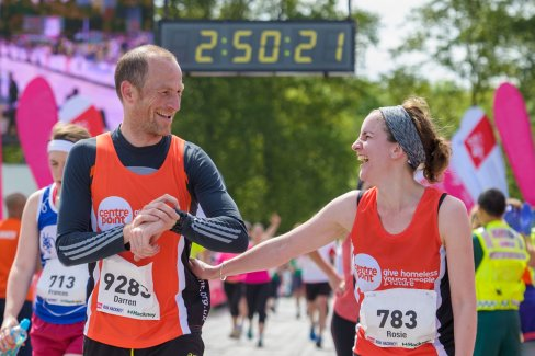 Two runners for the Centre charity to help homelessness.