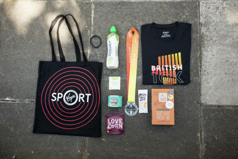 The Virgin Sport kit: The British 10k tee, medal, tote bag and goodies.