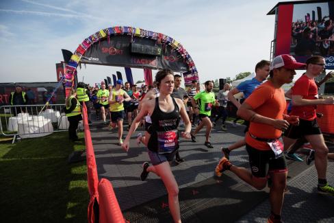 At the start line of the Hackney Half marathon by Virgin Sport