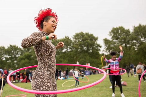 Hula hooping at the 2017 Hackney Half Virgin Sport Festival